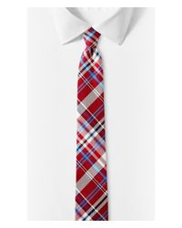 Express | Red And Blue Plaid Narrow Silk Tie - Verde for Men | Lyst