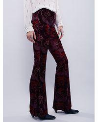 Free People - Purple Womens Maura Printed Velvet Flare - Lyst