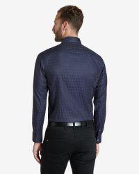 Ted Baker | Blue Dogtooth Print Shirt for Men | Lyst
