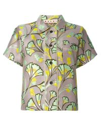 Marni - Multicolor Floral Print Cropped Shirt - Lyst