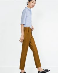 Zara | Yellow Double Fabric Trousers | Lyst