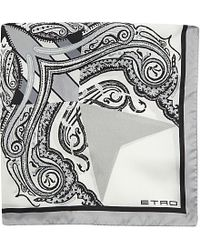 Etro - Gray Abstract Silk Pocket Square for Men - Lyst