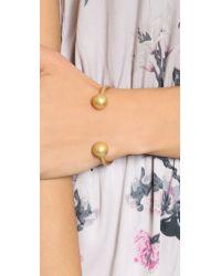 Madewell Metallic Ball Open Cuff Bracelet - Vintage Gold