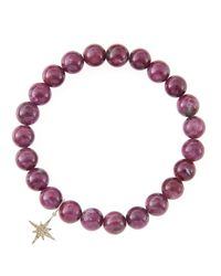 Sydney Evan | Red 8Mm Natural Ruby Beaded Bracelet With 14K Gold/Diamond Small Starburst Charm (Made To Order) | Lyst