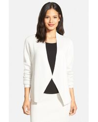 Eileen Fisher | White Silk & Organic Cotton Long Sleeve Sweater Jacket | Lyst