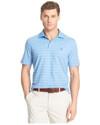 Izod - Blue Striped Performance Oxford Polo for Men - Lyst
