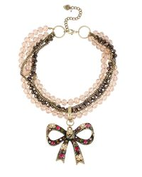Betsey Johnson Pink Cherry Bead Torsade Necklace With Crystallized Bow Pendant