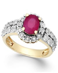 Macy's | Purple Ruby (1-1/10 Ct. T.w.) And Diamond (1/4 Ct. T.w.) Ring In 14k Gold | Lyst