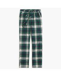 J.Crew Green Flannel Pajama Pant In Blue Tartan for men
