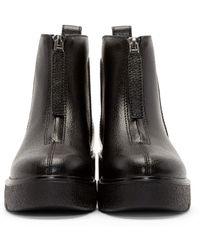 KENZO Black Leather Paneled Boots