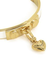 Juicy Couture | Metallic Heart Charm Enamel Hinged Bangle | Lyst
