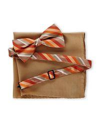 Nicole Miller | Orange Stripe Bow Tie & Pocket Square for Men | Lyst