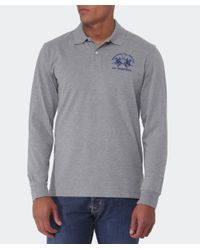 La Martina | Gray Logo Long Sleeve Polo Shirt for Men | Lyst