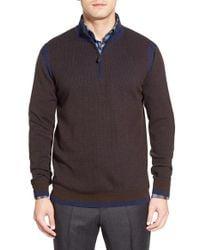 Robert Graham | Blue 'whalen' Colorblock Quarter Zip Sweater for Men | Lyst