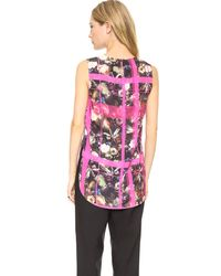 Thakoon Addition Multicolor Floral Plaid Sleeveless Top - Pink Multi