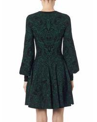 Alexander McQueen Green 3D Floral-Jacquard Stretch-Knit Dress