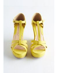 In Touch Footwear - Yellow Platforms And Functions Wedge In Lemon - Lyst