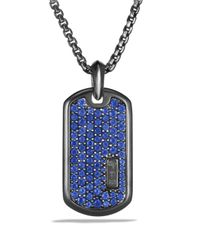 David Yurman Metallic Royal Cord Tag With Sapphire In Black Titanium On Chain for men