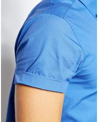 ASOS Blue Smart Shirt in Short Sleeve with Button Down Collar in Cotton for men