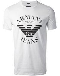 Armani Jeans White Logo Tshirt for men