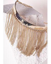 Missguided   Metallic Statement Chain Detail Choker Gold   Lyst