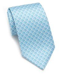 Ferragamo - Blue Fish Silk Tie for Men - Lyst