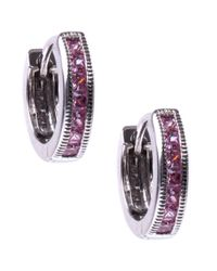 Judith Jack | Sterling Silver Pink Cubic Zirconia 113 Ct Tw Huggie Hoop Earrings | Lyst