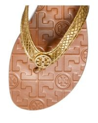 Tory Burch - Metallic Snake Printed Thora Sandal - Lyst