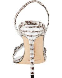 Manolo Blahnik Mirandola Jeweled Slingback Sandals In Metallic Lyst