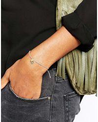 Orelia - Metallic Sideways Heart Stretch Bracelet - Lyst