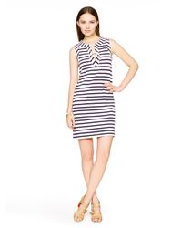 kate spade new york | Blue Cotton Jersey Lace-up Dress | Lyst