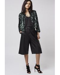 TOPSHOP Green Feather Sequin Jacket