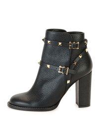 Valentino Garavani Black Rockstud Leather 70mm Chunky-heel Bootie