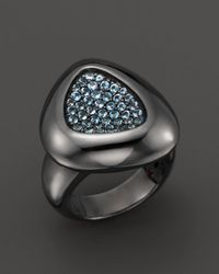 Roberto Coin | Metallic Sterling Silver Ruthenium Plated Capri Plus Ring With Blue Topaz | Lyst