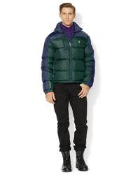 Polo Ralph Lauren | Green Colorblocked Quilted Trek Jacket for Men | Lyst