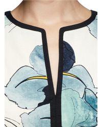 Tory Burch White 'Edith' Scallop Edge Faille A-Line Dress