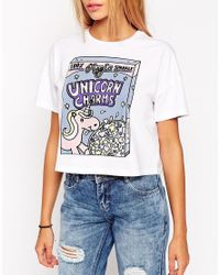 ASOS White Cropped T-Shirt With Unicorn Charms Glitter Print