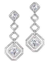 Kenneth Jay Lane | Metallic Pave Geometric Earring | Lyst