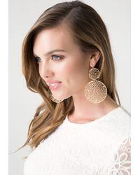 Bebe Metallic Filigree Circle Earrings