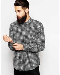 Vito Black Shirt With Geo Print In Slim Fit for men