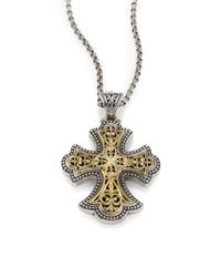 Konstantino | Metallic Classic 18k Yellow Gold & Sterling Silver Flared Filigree Pendant | Lyst