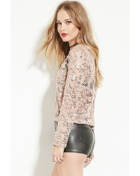 Forever 21 | Natural Endless Rose Sequin-embroidered Mesh Top | Lyst
