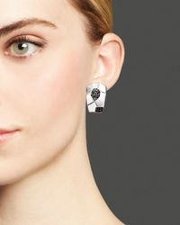 Roberto Coin | Metallic Sterling Silver Earrings With Black Spinel | Lyst