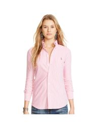 Polo Ralph Lauren | Pink Striped Knit Oxford Shirt | Lyst