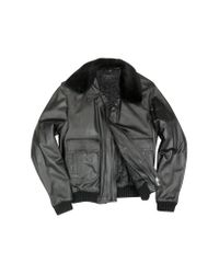 FORZIERI | Men's Black Leather Jacket W/detachable Shearling Collar for Men | Lyst