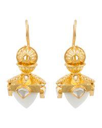 Kastur Jewels | Metallic Heritage White Opal Dome Earrings | Lyst