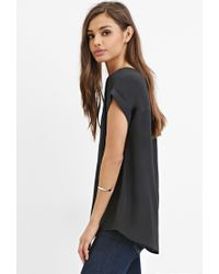 Forever 21 - Black Classic Cuffed-sleeve Top - Lyst