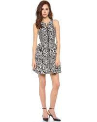Nicholas - Black Zebra Zip Front Dress - Lyst