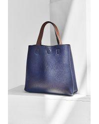 Urban Outfitters Blue Mini Reversible Vegan Leather Tote Bag