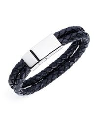 Jan Leslie | Black Double Braided Leather Bracelet for Men | Lyst
